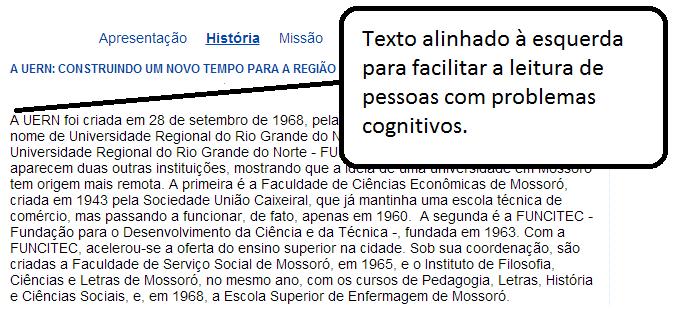 Acessibilidade: alinhar texto à esquerda facilita a leitura para deficientes cognitivos