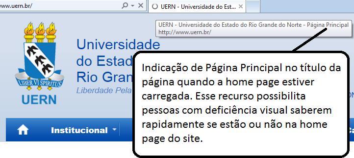 Acessibilidade: indicação no título da página com o nome página principal quando estiver na home page do site